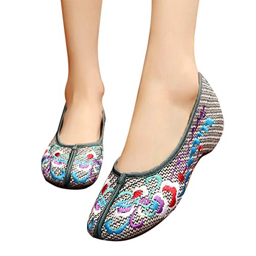 CINAK Embroidery Shoes for Women Comfort Slip-on Flats Casual Loafers Round Toe Slipper Red Ballet Flats Shoes(8 B(M) US/UK6/EU39/CN40/25CM,Gray)