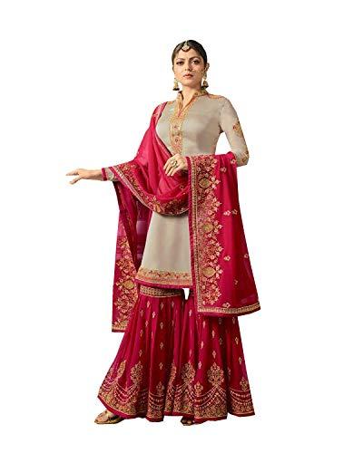 (Indian Wear Anarkali Suit Party Wear Zoya 2 (Off White, M-40))