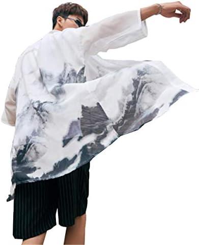 日焼け止め ビーチシャツ 七分袖 メンズ ロングシャツ カーディガン 薄手 トップス 漢服 着物 和式パーカー 羽織 五分袖 オシャレ 原宿系