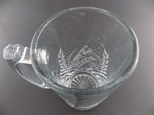 IncisoArt Hand Etched 25 Ounce Champions Beer Mug Sandblasted Amorpax Inc Sand Carved Handmade Glass Stein Praying Mantis Grass