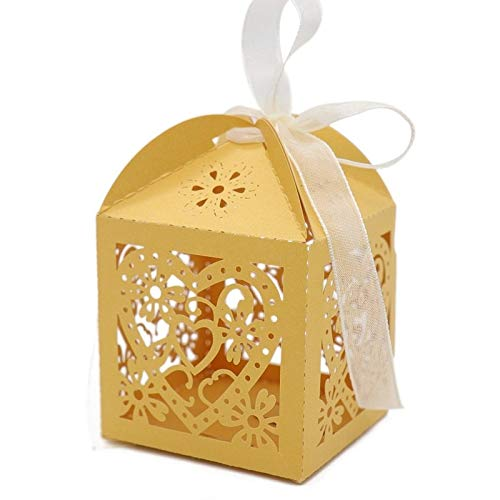 chipsua Gift Bags & Wrapping Supplies - 10pcs Kraft Paper Hollow Out Love Heart Candy Boxes DIY Laser Cut Packaging Gift Box for Baby Shower Birthday Wedding Party 1 PCs