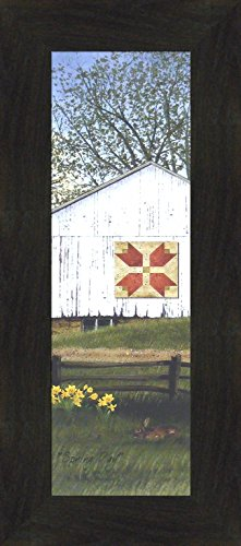 "Spring Day by Billy Jacobs 10x22 Tulip Quilt Block Barn Bunny Flowers Seasons Framed Folk Art Print Picture (2"" Espresso)"