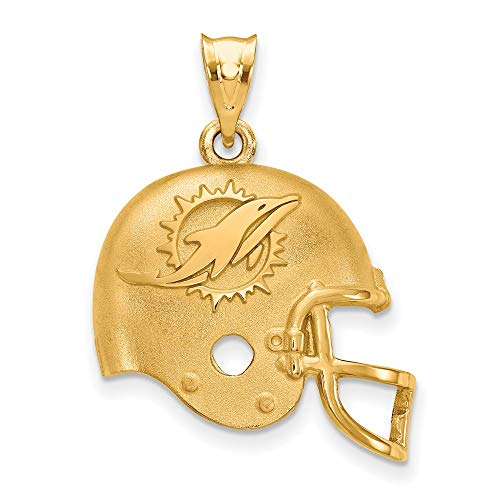 NFL Sterling Silver Gold-plated LogoArt Miami Dolphins Football Helmet Pendant