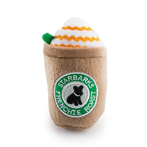 Designer Dog Toy - Haute Diggity Dog Squeaky Toys - Starbarks Collection (Starbarks Frenchie Roast with Straw, Small)