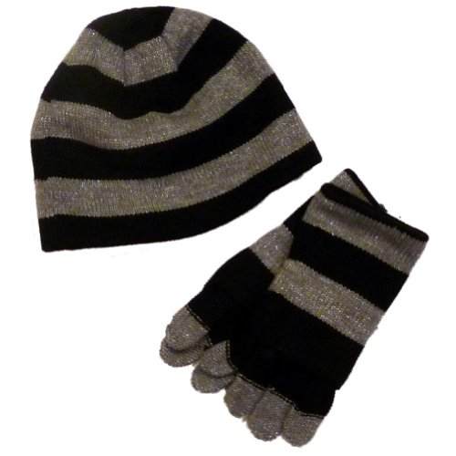 Faded Glory Girls Silver & Black Stripes Metallic Hat & Gloves Beanie Set