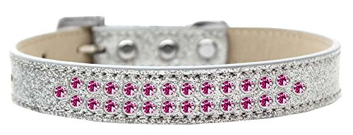 Silver Size 12 Silver Size 12 Mirage Pet Products Two Row Bright Pink Crystal Ice Cream Dog Collar, Size 12, Silver