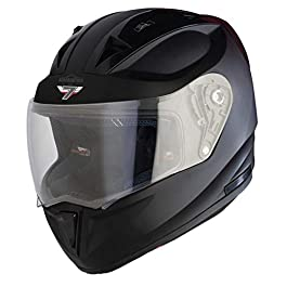 Steelbird SA-1 7Wings Aeronautics Full Face Helmet in Matt Finish (Large 600 MM, Matt Midnight Black with Plain Visor)