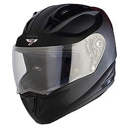 Steelbird SA-1 7Wings Aeronautics Full Face Helmet in Matt Finish (Large 600 MM, Matt Midnight Black with Plain Visor)