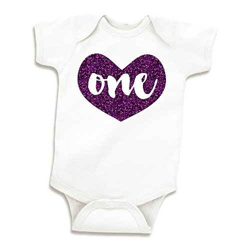 Girl First Birthday Outfit Baby Girls One Year Old Birthday Shirt (Glitter Purple 12-18 Months) (Glitter Onesie)