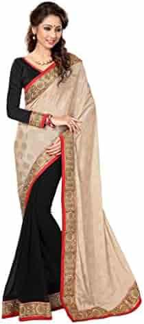 62e4283b98e372 Sourbh Mirchi Fashion Women's Attractive Lace Work Chiffon Jacquard Half  Saree