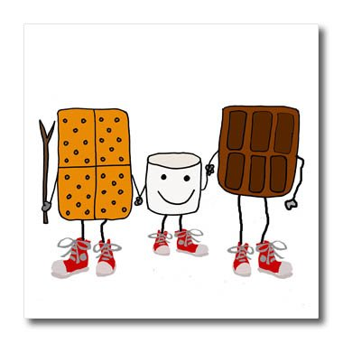 3dRose All Smiles Art Funny - Funny Cute Smores Cartoon with Chocolate and Marshmallow - 8x8 Iron on Heat Transfer for White Material (ht_260889_1)