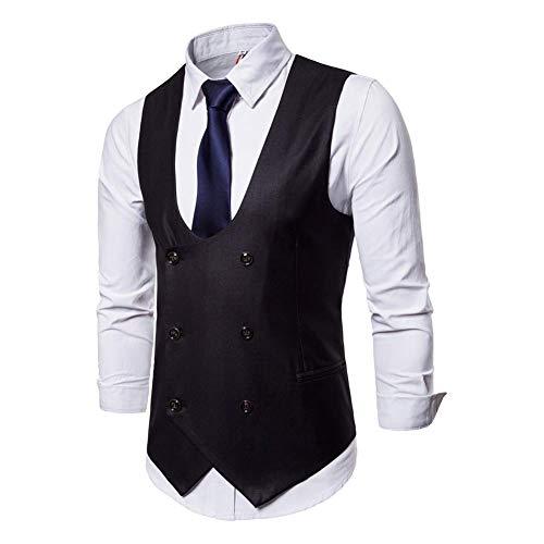 Costume De Manches Noir Slim Homme Noir robe Taille Protection Encolure Dégagée Hommes coloré Sans Pour Noir Monsieur Manches Xxl Veste Coupe Vêtements Gilet 7zdwpnTdx