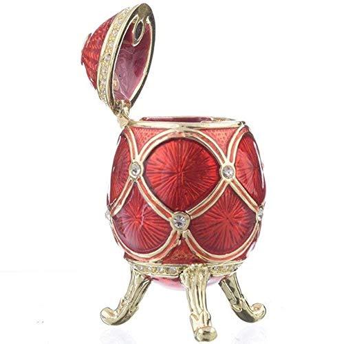 (Keren Kopal Red Faberge Egg Trinket Box Collectors Egg Decorated with Swarovski Crystals Russian Egg)