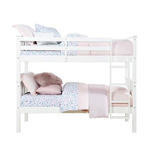 Dorel Living Dylan Kids Bunk Beds, with Guard Rail and Ladder, Wood, Twin Over Twin, White
