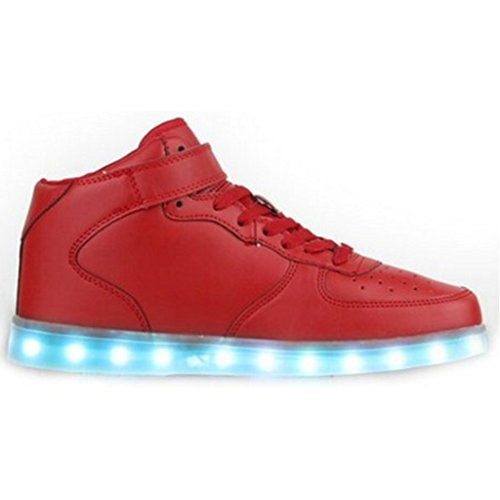 Topteck Mujer Hombre High Top Usb Carga Led Light Up Zapatos Intermitente Zapatillas High Top Red