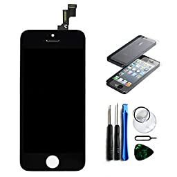 Select LCD Display for iPhone 5S Bundle with Touch Screen Digitizer Assembly and Tool Kit - Black
