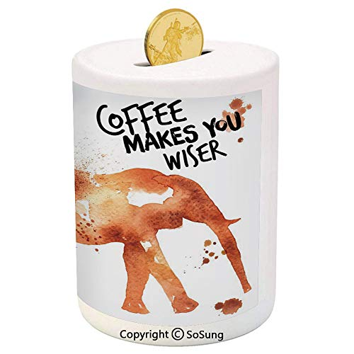 Coffee Art Ceramic Piggy Bank,Drink Coffee and Be Wiser Concept with Elephant Espresso Stains 3D Printed Ceramic Coin Bank Money Box for Kids & Adults,Burnt Sienna Black White