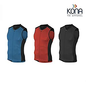 Kona Men's Triathlon Vest Jersey Tank Top Full Zipper, Tri Singlet Sleeveless, 2 Rear Pockets for Storage