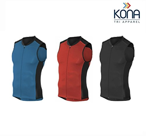 Men's KONA Triathlon Vest Jersey Tank Top Full Zipper, Tri Singlet Sleeveless, 2 Rear Pockets for Storage