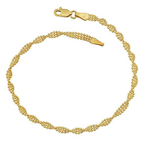 (Kooljewelry 14k Yellow Gold Diamond-Cut Twisted Triple Row Bead Ball Bracelet (7.5)