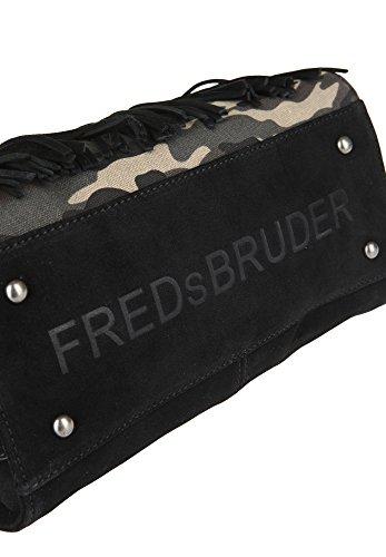 FREDsBRUDER Damen Handtasche mit Fransen abnehmbarer Schulterriemen Muddy Militaire xA2lGa