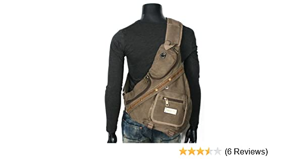 Amazon.com: Mens Rugged Military-style Single-shoulder Crossbody Canvas Backpack - Khaki Tan: Shoes