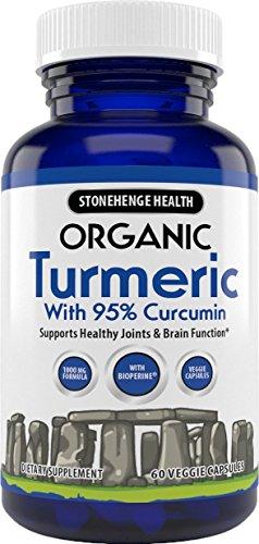 Stonehenge Health Organic Turmeric Maximum Strength 95 Curcumin with BioPerine for Added Absorption – Anti-Inflammatory, Pain Reducer, Arthritis Support – 1,010 mg Daily dose – 60 Vegetarian Caps