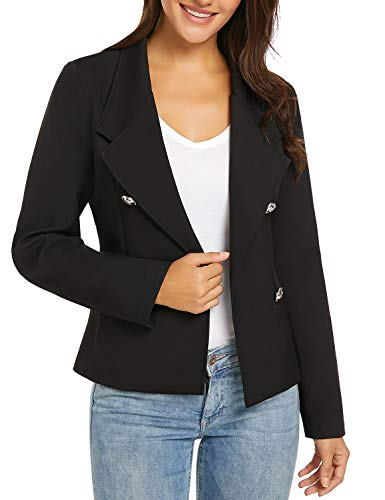 al Long Sleeve Open Front Double Breasted Work Office Blazer Jacket Black Size Small (US 4-6) ()
