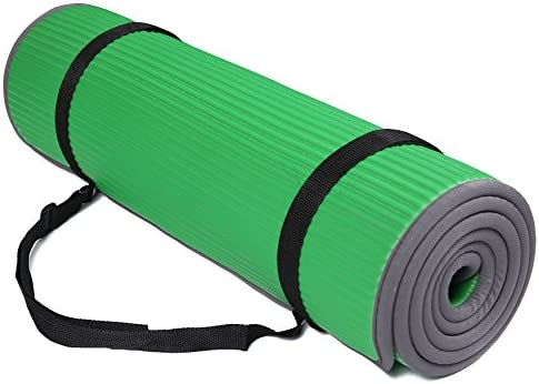 "BalanceFrom All-Purpose Extra Thick High Density Anti-Slip Exercise Pilates Yoga Mat with Carrying Strap, (72"" L x 24"" W x 2/5 Inch Thick)"