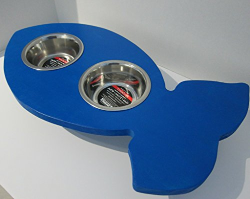 Fish Shaped Elevated Food Dish Holder - Small by Clever Cat & Crafty Dog