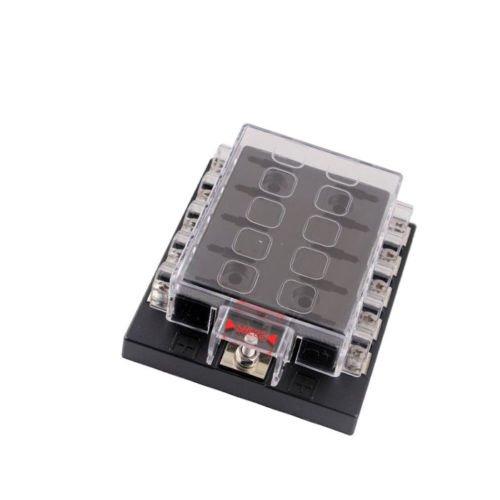 ZFE® 10Way Circuit Car Boat Automotive Auto Blade Fuse Box Block Holder ATC ATO DC32V