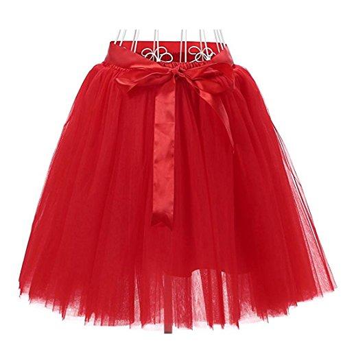 50cm Facent Rouge Femmes 7 Tutu Tulle Couches Jupons SqpSwC