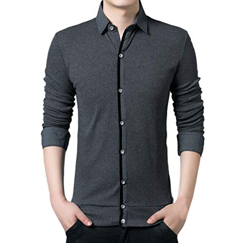 (OSTELY Shirts for Men, Spring New Casual Fashion Turn-Collar Patchwork Button T-Shirt Tops Blouse(Gray,Large))