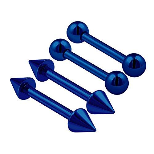 4PCS Steel Dark Blue Straight Barbell 16 gauge 1/4 6mm 3mm Ball Cone Cartilage Eyebrow Earrings Rook Piercing Jewelry 0785 ()