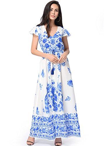Femme Robe Cru Impression Floral V-Cou Hem Asymtrique Mancherons Bleu