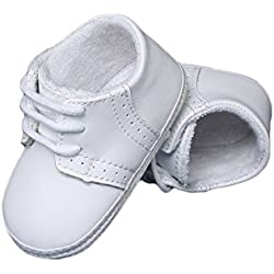 Baby Boys All White Genuine Leather Saddle Crib Shoe