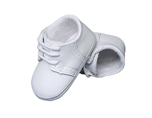 Image of Little Things Mean A Lot Baby Boys All White Genuine Leather Saddle Oxford Crib Shoe with Perforations - 3