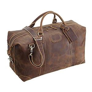 "Polare 20"" Full Grain Leather Travel Duffel Gym Weekender Bag 5"