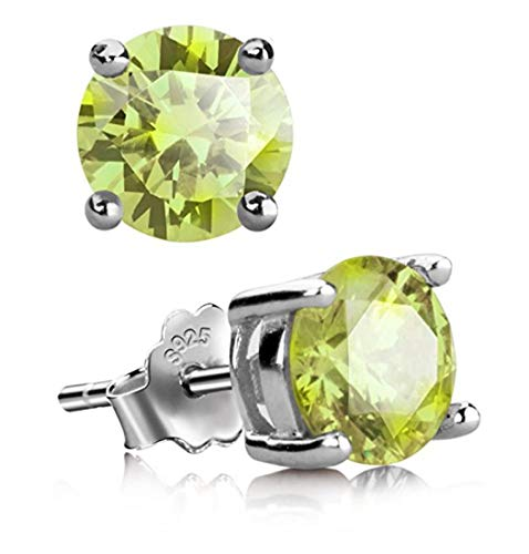 Sterling Silver August Birthstone Earrings | 8mm Peridot Earring Stud Ear Studs Anniversary Birthday Mother's Gift SSE67