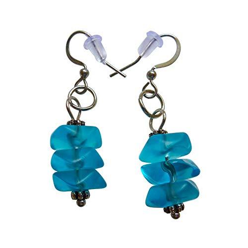 Light Blue Sea Glass Small Earrings 0.7 Inch Nautical Seaglass Ocean Hawaiian Beach Handmade Charming Mermaid Tears Jewelry for Women and Girls Valentine Gift Under 20 Dollars