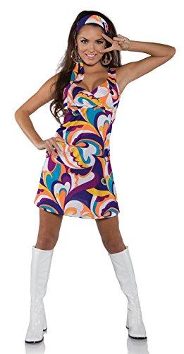 [Underwraps Costumes Women's Retro Hippie Costume - Peace, Purple/Orange/Blue/White, Small] (Cute Costumes For Couples)