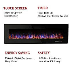 R.W.FLAME Electric Fireplace, Recessed Wall Mounted and in-Wall Fireplace Heater, Remote Control with Timer, Touch Screen, Adjustable Flame Colors and Speed, 750/1500W by R.W.FLAME