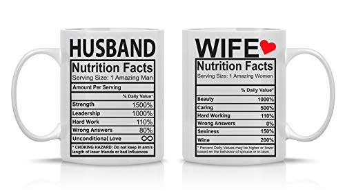 Husband and Wife Nutrition Facts - 11oz White Ceramic Coffee Mug Couples Sets - Funny His and Her Gifts -Husband and Wife Anniversary Presents - Wedding Gift - By CBT Mugs