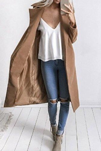 Sentao Femme Veste Classique Manches Longues coat Manteau Long Blazer Outwear Parkas Manteaux Élégant Hiver Kaki Trench aSqraU