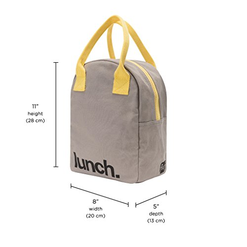 Fluf Zipper Lunch Bag, Organic Cotton (Grey 'lunch') by Fluf (Image #4)