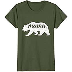 Womens Vintage Mama Bear Shirt Cute Camping Shirt For Women XL Olive