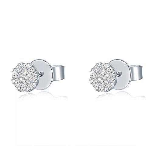 18ct 750Or blanc Cercle Forme Diamant Accents Boucles d'oreille à tige (0,26CT, G-H Couleur, Vs1-si2Clarté) bijoux Cadeau