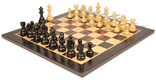 German Knight Staunton Chess Set Ebonized & Boxwood Pieces with Classic Macassar Ebony Chess Board- 3.25