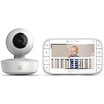 Motorola MBP36XL Portable Video Baby Monitor, 5-Inch Color Screen Portable, Rechargeable Camera with Remote Pan, Tilt, and Zoom, Two-Way Audio, and Room Temperature Display with Free Star Grip Support