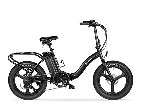 Ride Scoozy VeeGo Folding Semi-Fat Tire Electric Beach Cruiser (Black)